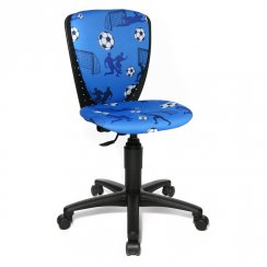 S'Cool 3 Blue Fabric Football Motif Junior Swivel Chair