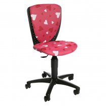 S'Cool 3 Pink Fabric Hearts Motif Junior Swivel Chair