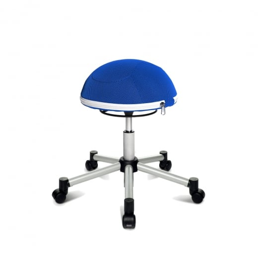 Topstar Sitness Half Ball Blue Mesh Fabric Gas Lift Stool with Removable Cushion