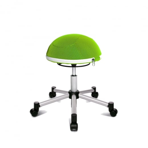 Topstar Sitness Half Ball Green Mesh Fabric Gas Lift Stool with Removable Cushion