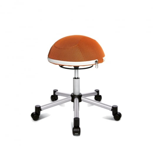 Topstar Sitness Half Ball Orange Mesh Fabric Gas Lift Stool with Removable Cushion