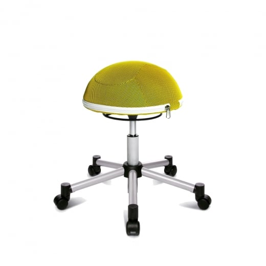 Topstar Sitness Half Ball Yellow Mesh Fabric Gas Lift Stool with Removable Cushion