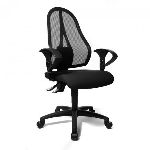 Topstar Open Point P Black Fabric and Black Mesh Office Chair Adjustable Armrests